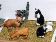 LANGLEY MODELS L26p  O SCALE  6 x Assorted Cats. Painted